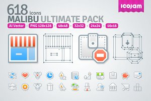 618 icons in Malibu Ultimate Pack