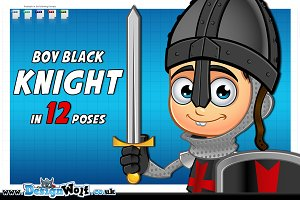 Boy Black Knight In 12 Poses