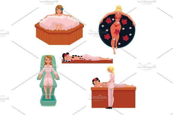 Woman Relaxing In Spa Foam Bath Stone Massage Clay Mask