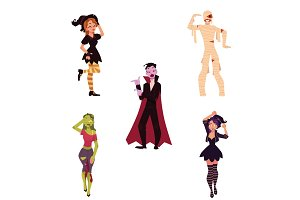 People in Halloween party costumes - witch, zombie, vampire, dracula, mummy