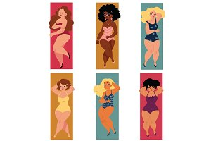 Plump, overweight, plus size curvy women, girls in swimming suits