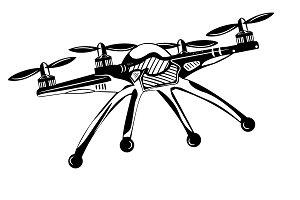 quadrocopter. monochrome style