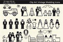 36 Vintage Wedding Icons