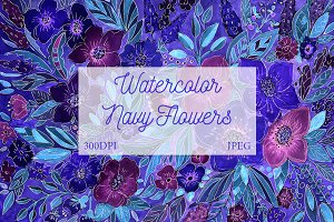 SALE! Watercolor Navy Floral Art