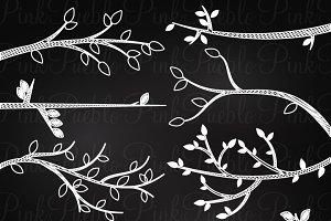 Chalkboard Tree Branch Silhouettes