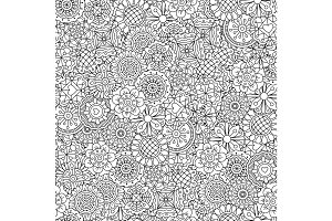 Line ornamental flowers pattern