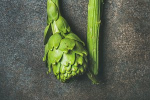 Fresh raw green artichockes