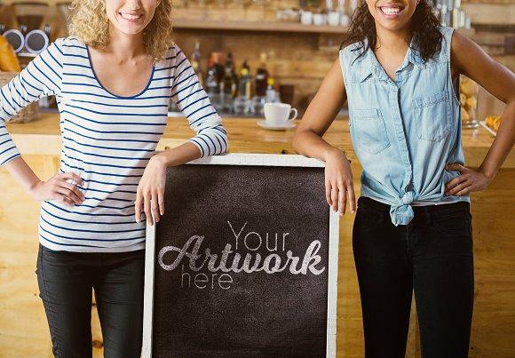 Women With Chalkboard Sign Mockup