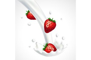 Strawberries and milk splash