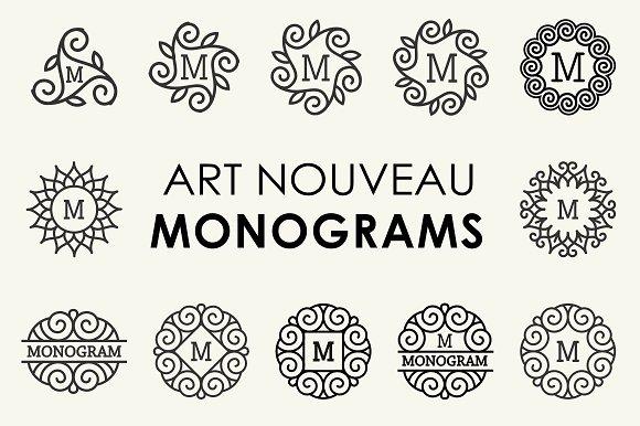 Art Nouveau Set Monograms Labels