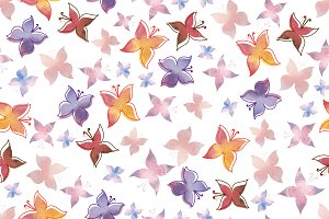 Watercolor pattern with butterflies