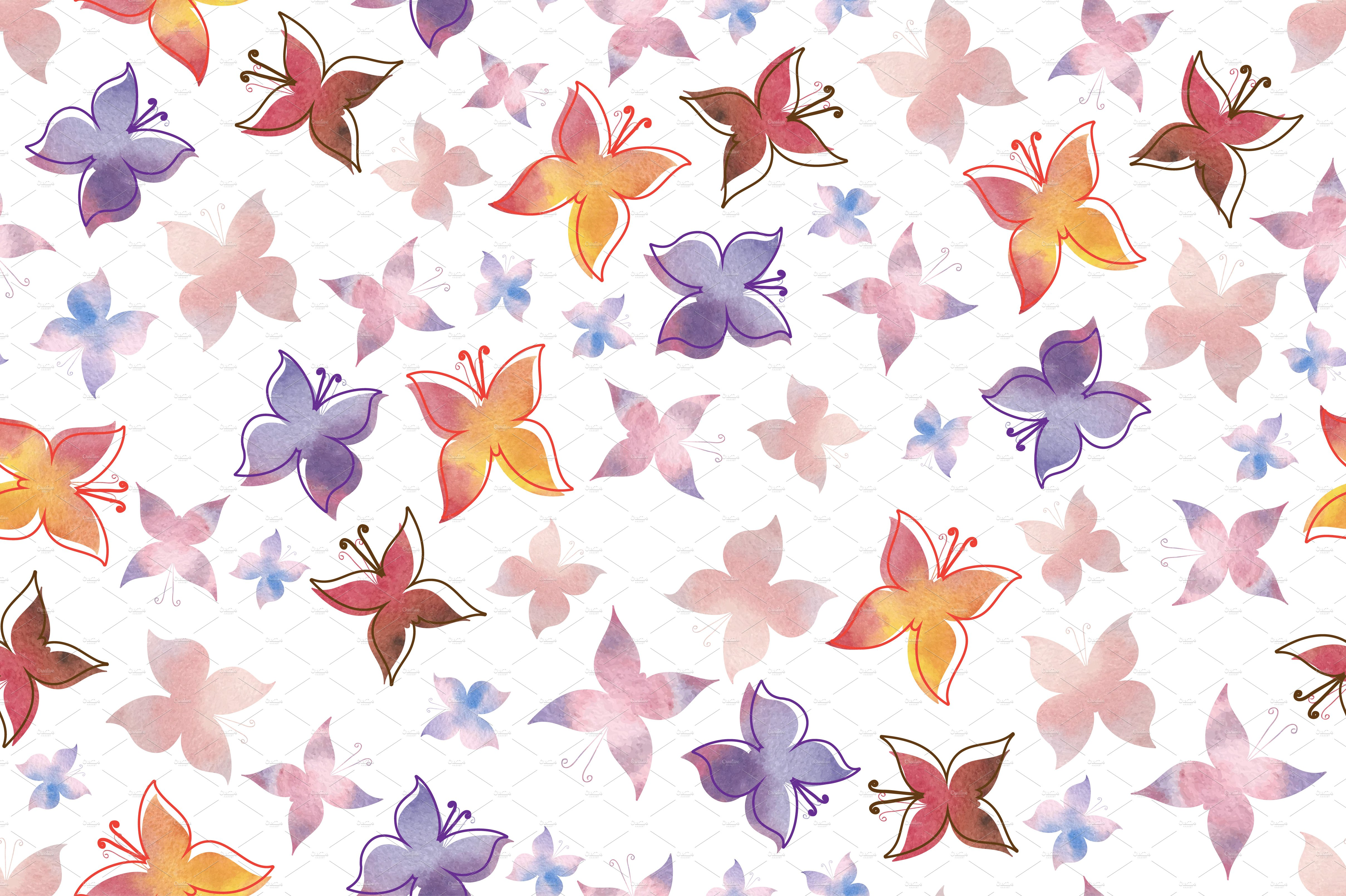 Watercolor pattern with butterflies ~ Graphic Patterns ...