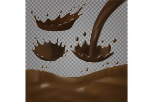 Chocolate splashes set. Realistic vector