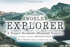 World Explorer Handmade Stamped Font