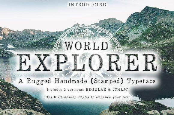 World Explorer Handmade Stamped Font