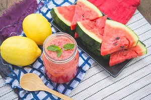 watermelon smoothies and lemon fruit