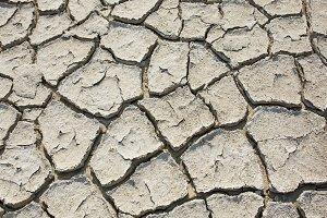 Crack soil of dried salt lake