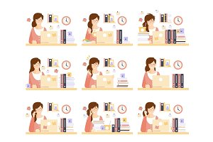 Female Office Worker In Her Cubicle Working Set Of Illustrations