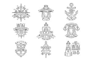 Vintage Sea Collection Black And White Emblems