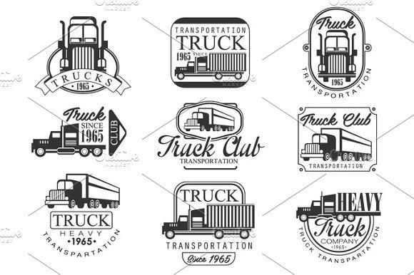 Heavy Truck Club Black And White Emblems