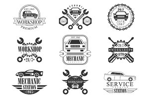 Auto Mechanic Black And White Emblems