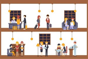 Two Illustrations, Scenes In The Hotel At Reception And Restaurant