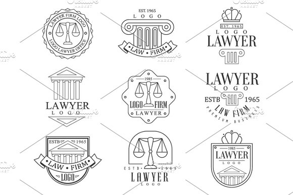 Law Firm And Lawyer Office Logo Templates With Classic Ionic Pillars Pediments Balance Silhouettes