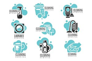 House And Office Cleaning Service Hire Labels Set, Logo Templates For Professional Cleaners Help The Housekeeping