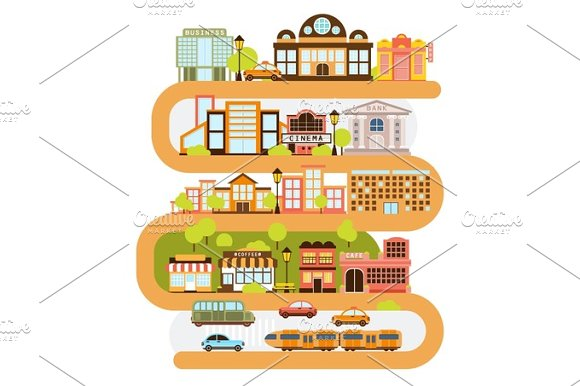 City Infrastructure And All The Urban Buildings Lined With The Curved Orange Line In Graphic Vector Illustration