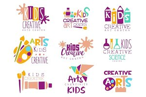 Kids Creative Class Template Promotional Logo Set With Symbols Of Art and Creativity, Painting Origami