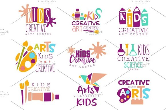 Kids Creative Class Template Promotional Logo Set With Symbols Of Art And Creativity Painting Origami