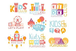 Kids Land Playground And Entertainment Club Set Of Bright Color Promo Signs For The Playing Space Children