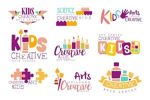 Kids Creative And Science Class Template Promotional Logo Set With Symbols Of Art Creativity, Painting Origami
