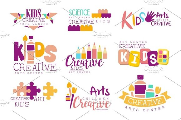 Kids Creative And Science Class Template Promotional Logo Set With Symbols Of Art Creativity Painting Origami