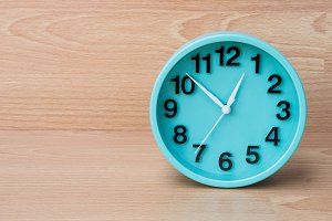 timer clock on wood background