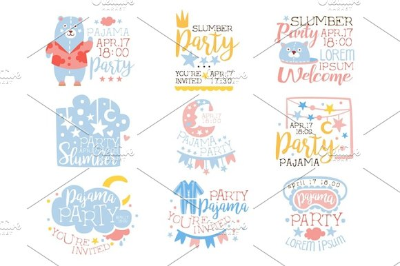 Blue And Pink Girly Pajama Party Invitation Templates Set Inviting Kids For The Slumber Pyjama Overnight Sleepover Cards