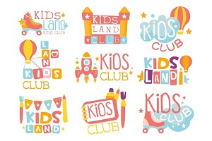 Kids Land Playground And Entertainment Club Set Of Colorful Promo Signs For The Playing Space Children