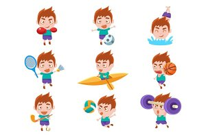 Kid Sportsman Doing Different Sport Types Set Of Illustrations