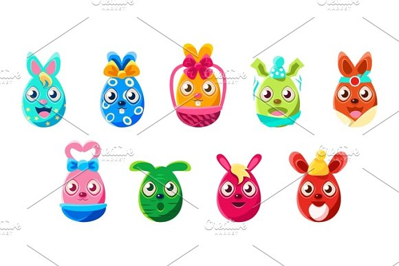 Easter Egg Shaped Bunnies Colorful Girly Sticker Set Of Religious Holiday Symbols