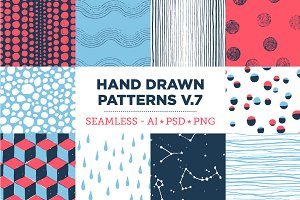 10 Seamless Hand Drawn Patterns v.7