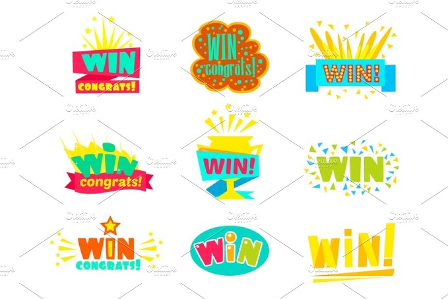 Win Congratulations Stickers Assortment Of Comic Designs For Video Game  Winning Finale