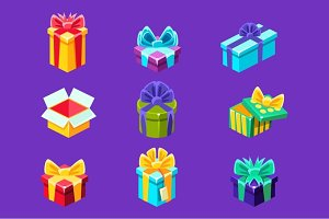 Gift Boxes With And Without A Present Inside Decorative Wrapped Cardboard Collection