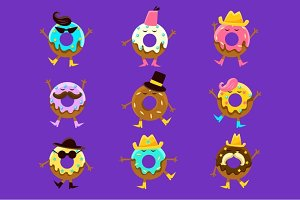 Humanized Doughnut Cartoon Characters With Arms And Legs Different Facial Features Set