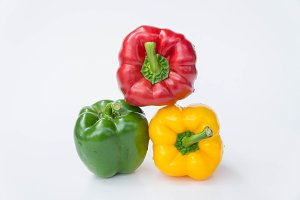 Three color red green yellow pepper