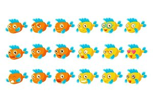 Cute Orange Aquarium Fish Cartoon Character Set Of Different Facial Expressions And Emotions