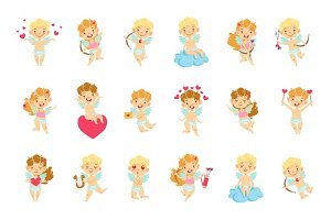 Baby Angels With Bows, Arrows And Hearts Set
