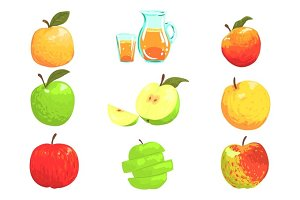 Apples And Apple Juice Cool Style Bright Illustrations