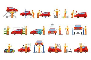 Car Repair Shop Services Set Of Illustrations