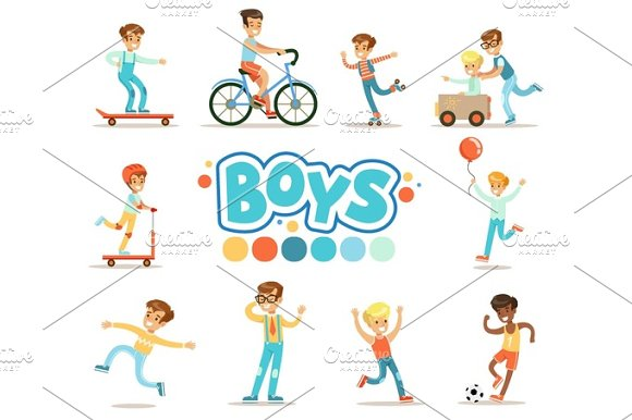 Happy Boys And Their Expected Classic Behavior With Active Games Sport Practices Set Of Traditional Male Kid Role Illustrations