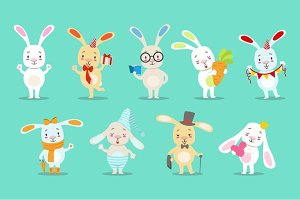 Little Girly Cute White Bunny Cartoon Character Different Activities And Situations Set OF Vector Illustrations